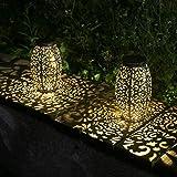 Kaixoxin 2 Pack Solar Lantern Lights for Hanging or Table Outdoor Solar Light...
