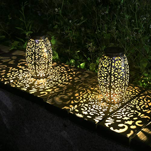 Kaixoxin 2 Pack Solar Lantern Lights for Hanging or Table Outdoor Solar Light for Patio Courtyard...