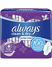 Always Clean & Dry Ultra Thin, sanitary pads with wings