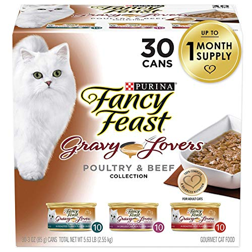 Purina Fancy Feast Gravy Wet Cat Food Variety Pack, Gravy Lovers Poultry & Beef Feast Collection - (30) 3 oz. Cans