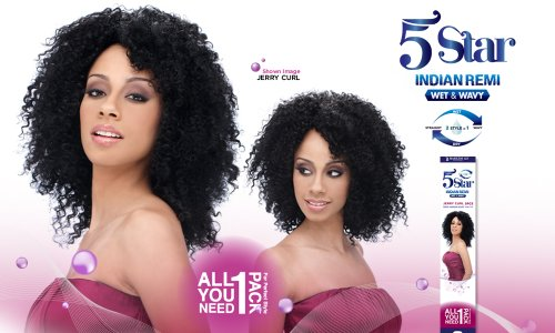 5 STAR Indian Remy Wet & Wavy Human Hair JERRY CURL 5 PCS - (#2)