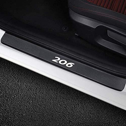 LOPLP Adesivi per battitacco batticalcagno in Fibra di Carbonio per Peugeot 206, Protezioni battitacco, Pedale di Benvenuto, pedaliera AntiGraffio, Accessori Auto, 4 Pezzi