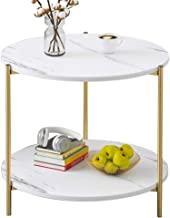 PAMBOO Coffee Table Small Table Marble Pattern Wooden Double Sofa Side Table Square Table Suitable for Living Room Office (Circle, White)