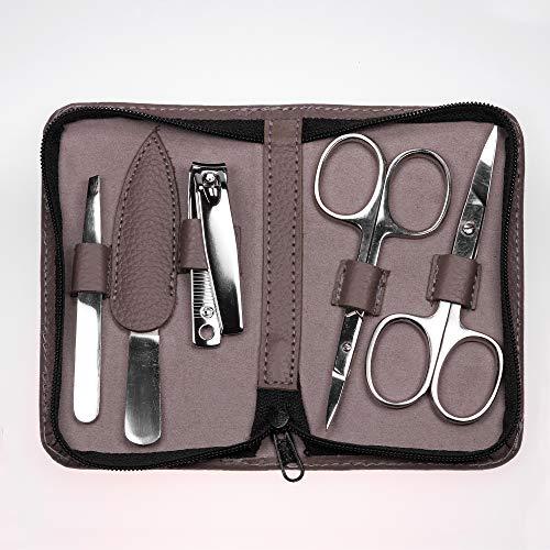 5-teiliges Maniküre Set In Grau/Taupe Mit 2 Scheren, Pinzette, Feile Und Nagelknipser Im Echtleder Etui Von PARSA