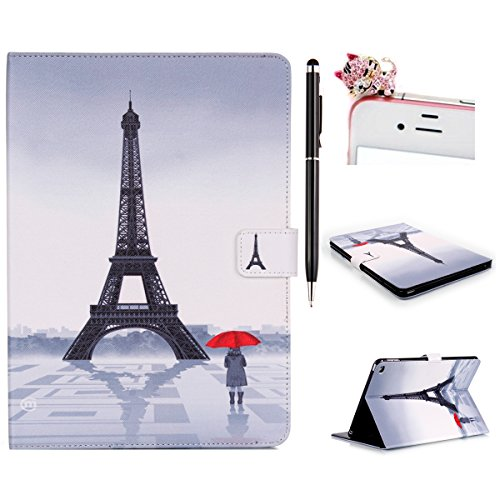 Felfy iPad Mini 4 Handyhülle Slim Full Body Eiffelturm Girl Rot Regenschirm Muster PU Case Cover Etui Schutz Hülle Tasche für Apple iPad mini4 + 1x Cat Anti Stöpsel + 1x Schwarz Stylus