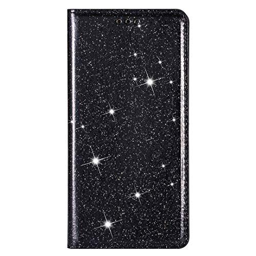 Huawei P30 Lite skal bling glitter diamant stötsäker flip PU-läder plånbok telefonfodral slim fit folio silikon baksida ställ kortplatser stötfångare skyddande fodral för Huawei P30 Lite svart