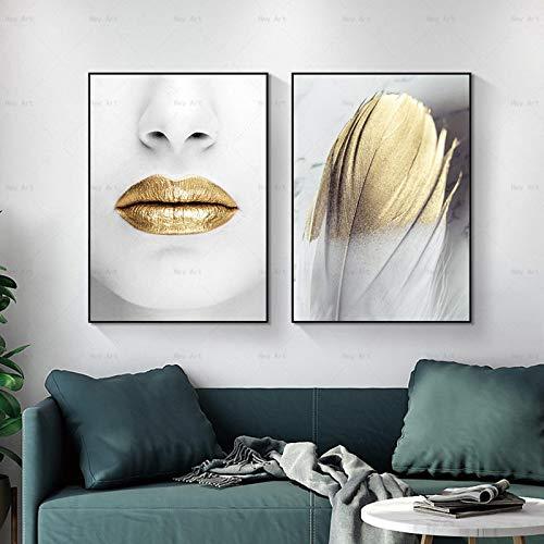 Pintura de lienzo nórdica Arte de la pared Labios Carteles de plumas e impresiones Imágenes para sala de estar Dormitorio Decoración para el hogar Decoración-40x50cmx2 Sin marco