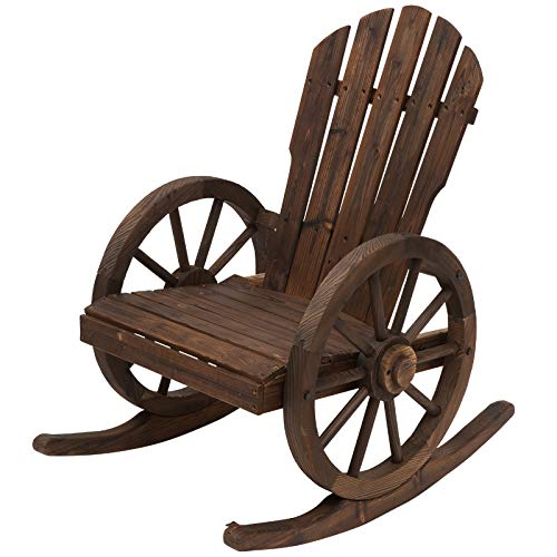 Outsunny Wooden Adirondack Rocking Chair Reclining Armchair Outdoor Garden Furniture Patio Porch Rocker - Carbonized Wood Colour