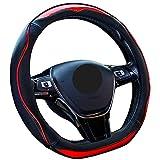 ZATOOTO ハンドルカバー D型 おしゃれ レインボーステッチ 滑りにくい 耐久・手触りよし ノート・CHRなど用 ステアリングカバー レッド LY123-R
