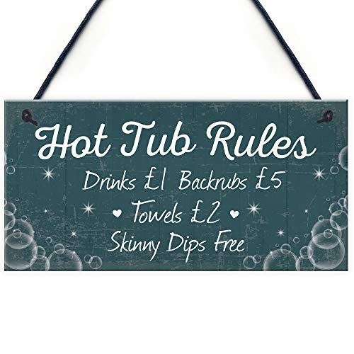 RED OCEAN Funny Hot Tub Rules Novelty Hanging Garden Shed Plaque Jacuzzi Pool Funny Gift Sign