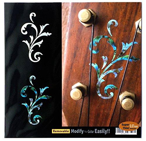 Inlay Aufkleber für Gitarre & Ukulele Kopfplatte, klein Set Weiß Perle & Abalone Blau