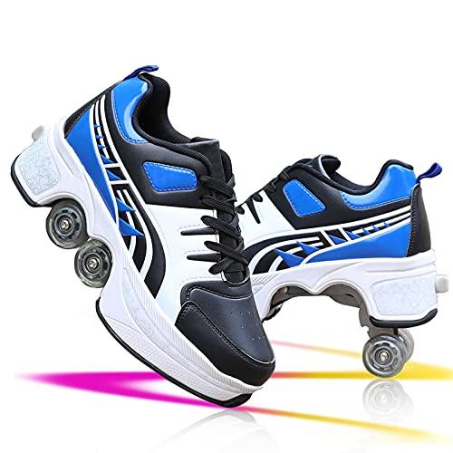 YXRPK Patines De Ruedas Deformación Zapatos Multiusos 2 En 1 Zapatos con Ruedas, Patines De Cuatro Ruedas Ajustables Zapatos Deportivos