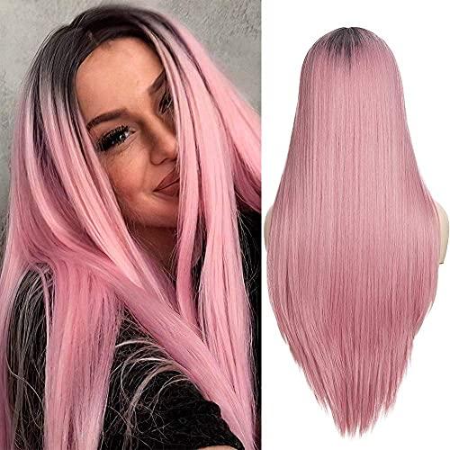 Pelucas rubias de Colorfapanda para Las Mujeres Peluca Rubia de Ombre Sildek Sily Sily con raíces marrón Oscuro Peluca de Pelo sintético Rubia Mixta para Fiesta Diaria BJY969 (Color : Pink)