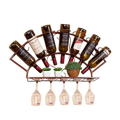 N\C ZSCC - Estante de almacenamiento de vino para colgar en la pared con 7 botellas de vino, estilo retro, para colgar en la pared