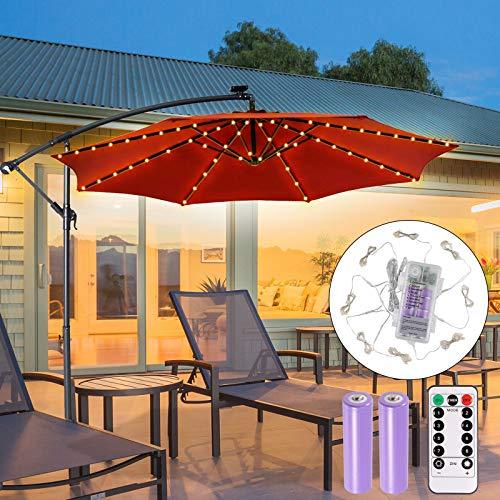 ECOWHO Sonnenschirm Lichterkette 104 LED Regenschirm Lichterkette mit USB wiederaufladbare Batterie & Fernbedienung, Terrassenschirm Lichterkette für Außen Outdoor Balkon Garten Campingzelte