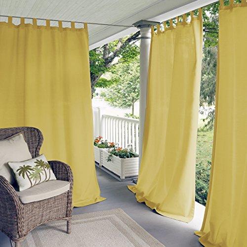 "Elrene Home Fashions Indoor/Outdoor Solid Tab Top Single Window Curtain Drape, 52""x84"" (1 Panel), Yellow"