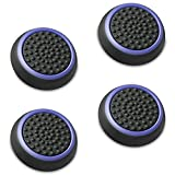 Fosmon (Set of 4) Analog Stick Joystick Controller Performance Thumb Grips Compatible with PS5, PS4, Xbox One, Xbox Series X/S (Black/Blue)