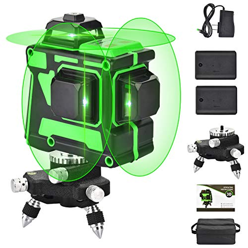 3X360 Línea láser autonivelante, línea cruzada 3D 12 líneas Haz verde 131 pies 2 vertical 1 línea horizontal con 1 base, tres planos, niveladora láser para construcción