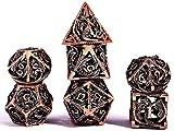 Schleuder D&D Dados Dungeons and Dragons Juegos de rol, Dados de Metal RPG PoliéDricos Hueco Metal Forma de Dragón Dice Set, para Dragones y Mazmorras Juego de Mesa (Cobre Rojo Antiguo)