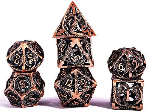 Würfel Set DND Rollenspiel, Dice Set Polyedrische D&D Set Metall Drachenmuster für Brettspiel Dungeons and Dragons Verwendet Wird (Antikes rotes Kupfer)