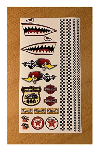 24/7stickers MB001 / Aufkleber Set Modellbau 29 x 15,5 cm Old School 76 Hai Shark Checkered Flag Hot Rod USA V8 Flagge Tuning 1:10 1:8 Auto RC Diorama