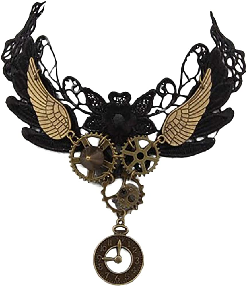 Arsimus Steampunk Choker with Lace and Gears