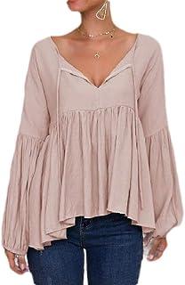 UUGYE Women Solid Color V Neck Puff Long Sleeve Peplum Tops Blouse Shirts