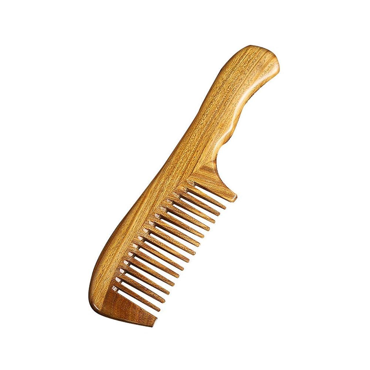 起訴するカナダ樹皮Chinashow 手作り 100%ナチュラルグリーンサンダルウッドワイド歯くし、レディース、男性と子供 静的な天然木製サンダルウッド くし