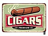 HOSNYE Cigars Store Tin Sign Cuban Cigar on Old Design Template Vintage Metal Tin Signs for Men Women Wall Art Decor for Home Bars Clubs Cafes 8x12 Inch