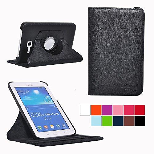 COOVY® Cover für Samsung Galaxy TAB 3 LITE 7.0 SM-T110 SM-T111 Rotation 360° Smart Hülle Tasche Etui Case Schutz Ständer   Farbe schwarz