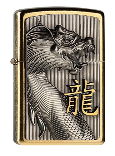 Zippo Zippo 2004517 G Golden Dragon Feuerzeug, Messing, Edelstahloptik, 1 x 3,5 x 5,5 cm Edelstahloptik