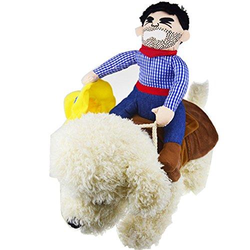 OLizee Pet Dog Halloween Cowboy Funny Costume Dog Riders Clothes(S)