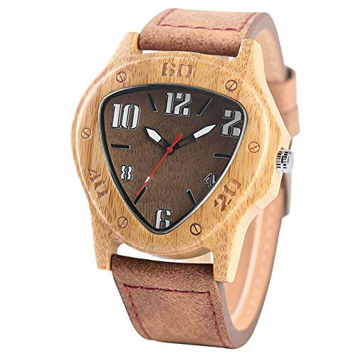 IOMLOP Orologio in Legno Luxury Noble Men Orologio in Legno Triangle Dial 100% Natural Wood QuartzLeather Casual Male Handmade Gifts, Bamboo Wood