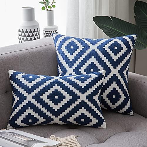 MRBJC Luxe Gedrukt borduurwerk Decoratieve Vierkante Katoenen Kussen/Kussen voor Thuis, Bank, Bank, Stoel blauw 45x45cm