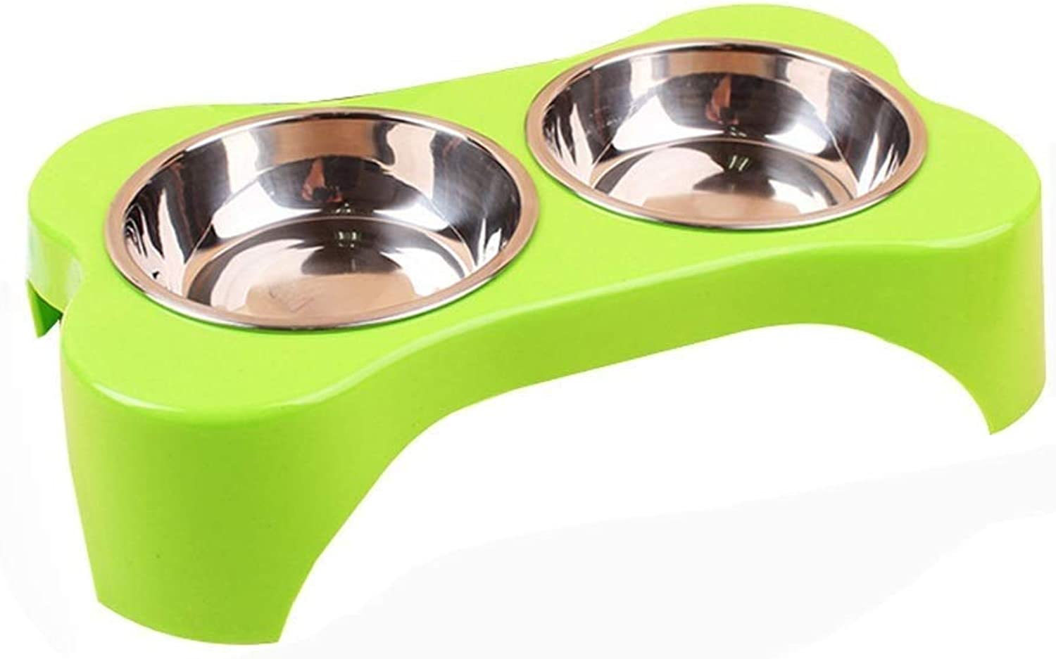 WSJTT Double Stainless Steel Dog Cat Bowls with Double Bowl NonSlip Dog Bowl Double Bowl Pet Plastic Bowl Dog Food Bowl Cat Bowl for Pet Food and Water Feeder (color   C)