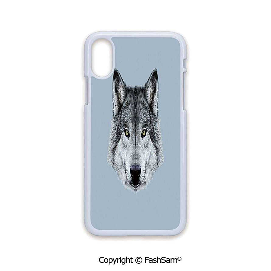 Plastic Rigid Mobile Phone case Compatible with iPhone X Black Edge Wolf Portrait with Beautiful Gaze Sublime Animal Illustration Canine Beast 2D Print Hard Plastic Phone Case
