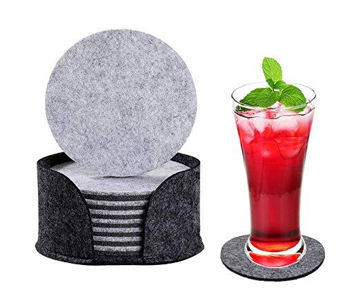 ZhuLinFeng 10 Stück -Rund Filz Untersetzer für mit meisten Gläser, Bier-Krüge, Cocktail-Gläser, Tassen, Tee, Kaffee oder Karaffen verwendet werden. Double-Layer-Dunkelgrau und Hellgrau in Einem.