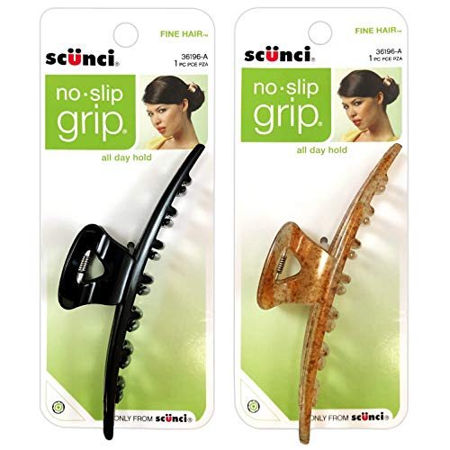 Scunci No-Slip Grip Jaw Clip For Thick Hair, Assorted Colors (Pack of 2)
