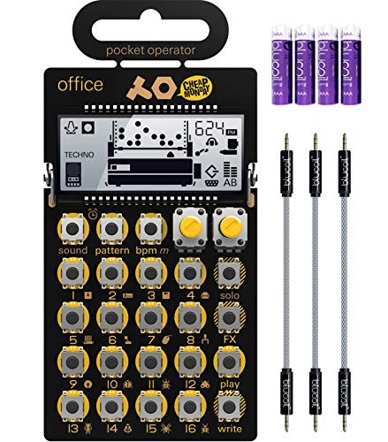 """Teenage Engineering PO-24 Pocket Operator Office Noise Sequencer Bundle with Blucoil 3-Pack of 7"""" Audio Aux Cables, and 4 AAA Batteries"""