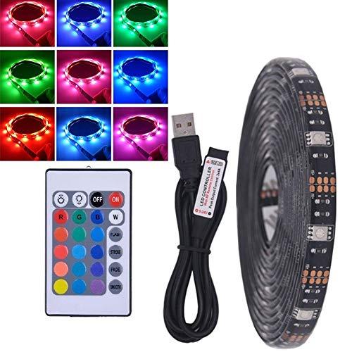 Striscia LED impermeabile RGB dimmer con cambiamento di colore, con telecomando, per retroilluminazione televisore, adatta per TV, camere da letto, feste e decorazioni per la casa