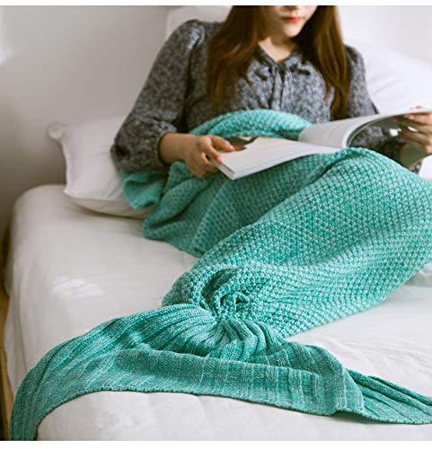 XILIUHU Handarbeit Häkeln Mermaid Decke Handgefertigt aus Gewirken schlafen Wickeln atmungsaktiv gestrick Sofa Mermaid Schwanz Decke Bettwäsche Plaids Tasche, Grün, S (90 X 50 cm)