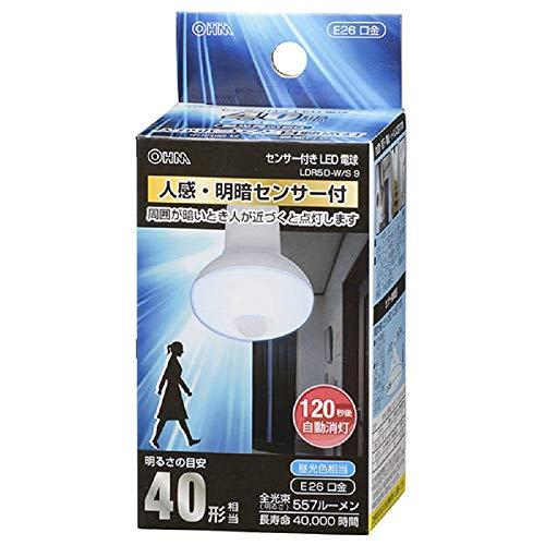 オーム電機『LED電球 レフランプ形 人感・明暗センサー(LDR5D-W/S 9 06-0788)』