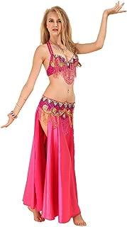 GUILTY BEAUTY Satin Belly Dance Costume,Bra Belt Skirt 3pcs Outfit,5 Colors