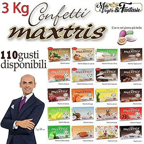 Generico Kit Confetti Maxtris Bianchi per confettate o Bomboniere Gusti a Scelta - per Matrimonio, Battesimo, Nascita, Comunione, Laurea, Diploma, Feste di Compleanno (3 kg Sufficienti 25 Persone)