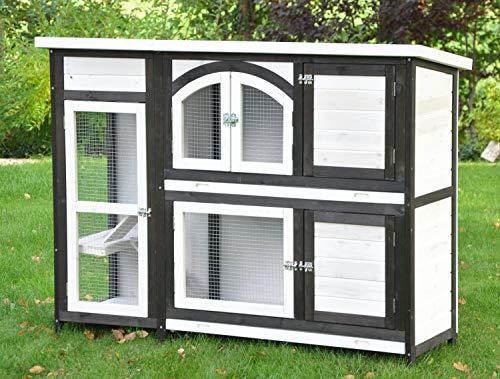 nanook Kaninchenstall, Hasenstall Jumbo XL mit seitlichen Aufgängen für mehr Platz – Wetterfest extragroß 138 x 48 x 109 cm braun/Weiss - 6