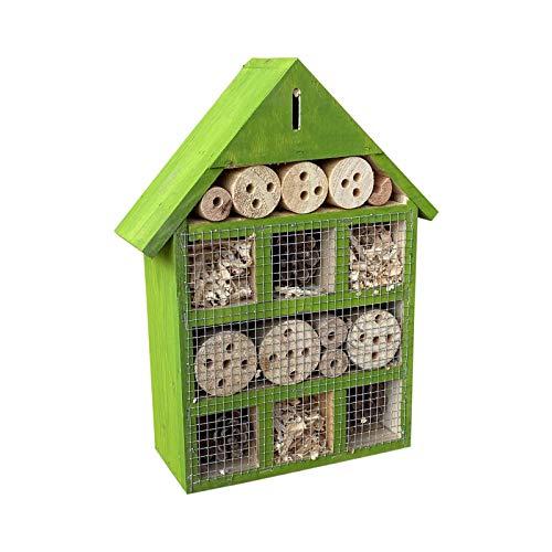 Insektenhotel hängend 230 x 80 x 300 mm, Nisthilfe für verschiedene Insekten in Grün