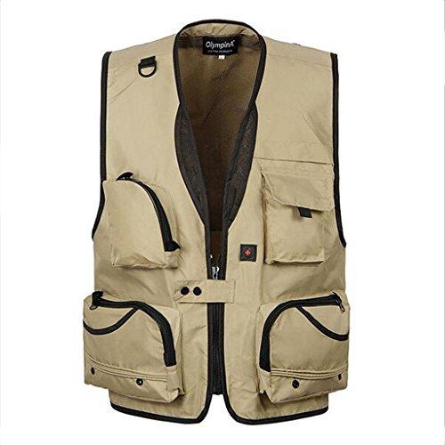 Generic Homme Gilet Veste de Maille en Coton avec Multi-Poches Zipper pour Camping,Pêche,Chasse,Photographie - Kaki, XL