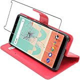 ebestStar - Coque Wiko View Go Etui PU Cuir Housse Portefeuille Porte-Cartes Support Stand, Rouge + Film Protection écran Verre...