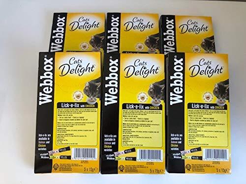 Webbox Lick-e-Lix with Chicken Tasty Yogurty Treat 5 x 15g (Pack of 6)
