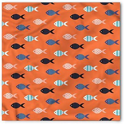 Ambesonne Unisex Bandana Peach Colorful Fish Shoal Coral Blue product image